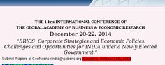 GABER 14th International Conference on Global Academy of Business and Economic Research 2014 Event Date:  Repeats every day until Mon Dec 22 2014 . Sat, 2014-12-20 Sun, 2014-12-21 Mon, 2014-12-22 College / Institute:  - Indcareer