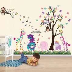 Large jungle animal wall sticker decals. Zoo Wall Stickers #wallstickers