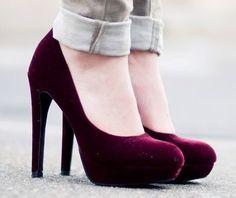 Burgundy heels.