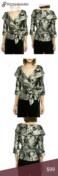 Alex Evenings Shawl-collar Side-tie Top Blouse New A figure-skimming side tie and gorgeous portrait collar make this luxe Jacquard blouse perfect for any evening occasion. Step out in style with this subtle floral print top - ideal from upscale dinners to art gallery openings.    Exaggerated shawl collar  Three-quarter sleeves  Pullover style  Lined  Approximately 23 inches length  Polyester  Machine washable Alex Evenings Tops