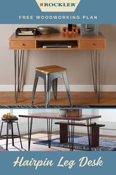 Rockler's I-Semble® 3-Rod Hairpin Legs elevate this solid, stylish and easy-to-build desk. Download the plan for free here! #createwithconfidence #hairpinlegdesk #freeplan #isemble #hairpinleg Beginner Woodworking Projects, Diy Woodworking, Hairpin Leg Desk, Workshop Organization, Weekend Projects, Wood Working For Beginners, Diy Desk, Hair Pins, Hardware