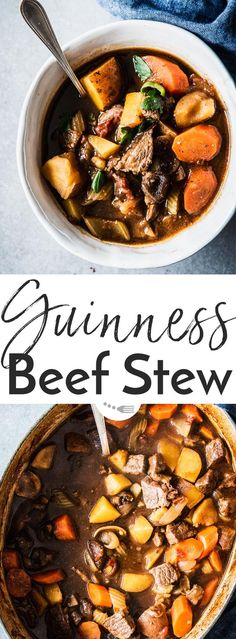 Guinness Beef Stew - pure winter comfort food! This is easy to make and cooks in the oven for hands-off dinner prep. A great meal for St. Patrick's Day instead of traditional Irish stew, or any time you're craving a rich and hearty stew on a cold night. C