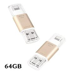 Amazon.com: [Apple MFi Certified] USB 3.0 Flash Drive for iPhone iPad, GMYLE Mini External Storage Memory Expansion USB Stick with Lightning Connector (64GB) (Gold): Computers & Accessories
