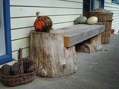 Rustic Log Furniture: The Magic of Wood Log Furniture, Garden Furniture, Outdoor Furniture, Outdoor Decor, Furniture Ideas, Tree Stump Furniture, Western Furniture, Repurposed Furniture, Furniture Design