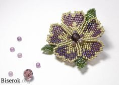 Flower Broach Masterclass (Russian) emphasis on piece construction for pin  ~ Seed Bead Tutorials