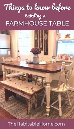 Tips for building a Farmhouse Table! I made this table for my house on my first try and you can too!! But first, I can tell you some tips that I wish I'd known when building the first table! #farmhousetable #farmhouse #farmhousestyle #farmhousekitchen #tabledecor #diy #diyproject
