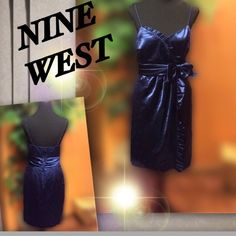 🎀NINE WEST FORMAL IN NAVY🎀 Beautiful navy blue dress with accent bow at the waist spaghetti straps and back zip.. Due to the nature of the fabric, there are some minor pulls not noticeable unless looking. I couldn't get them to show up with my camera.. Price reflects.. Very pretty dress.  HIC-2 Nine West Dresses Wedding