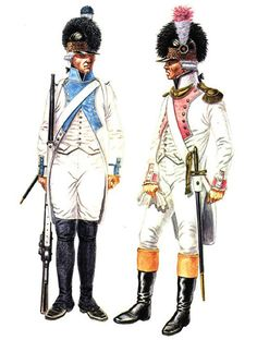 French; 42nd Line Infantry, Fusilier,1791 & 32nd Line Infantry, Fusilier Lieutenant,, 1792 by Chris Warner