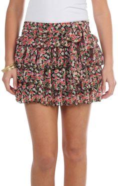Deb Shops red and yellow #floral chiffon ruffle #skirt