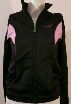 Women's Puma Sport Black zip Sweatshirt xs zipper #PUMA #TrackJacket