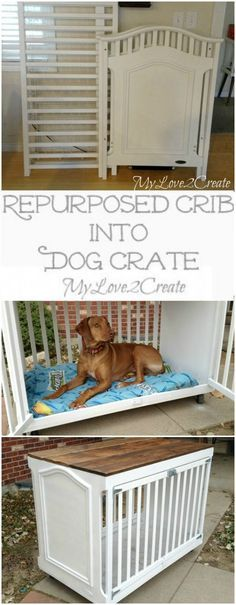 Crib Dog Crate How clever is this repurposed crib turned into a dog crate from My Love 2 Create.How clever is this repurposed crib turned into a dog crate from My Love 2 Create. Repurposed Furniture, Diy Furniture, Bedroom Furniture, Dog Crate Furniture, Vintage Furniture, Farmhouse Furniture, Metal Furniture, Furniture Projects, Rustic Furniture