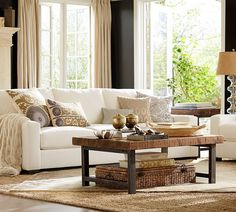 Traditional Living Room with Pottery Barn Turner Square Arm Upholstered Sofa, Griffin Reclaimed Wood Coffee Table, Carpet