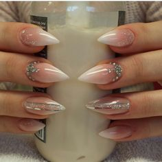 White and Nude stiletto nails