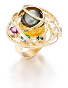 Black Tahitian Pearl Satellite Ring