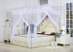 [Canony Bed DIY Ideas] White Arched Four Corner Square Princess Bed Canopy Mosquito Netting (Twin-XL) * Check this useful article by going to the link at the image. #CanopyBed