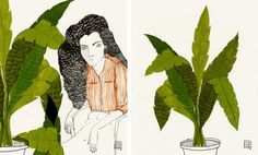 """Carla Fuentes, from the """"BOTANICAL"""" series, gouche, ink and graphito on white paper, October 2012"""