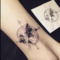 Geometric world map tattoo idea small tattoos pinterest map tattoo by hongdamkt tag photos blacktattoomag to submit your work globe tattoosworld map gumiabroncs Choice Image