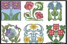 Art nouveau flowers 3 booklet