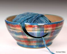 Hand thrown yarn bowl in plaid glaze design by Hurricane Pottery on Etsy and Facebook. Custom order http://hurricanepottery.etsy.com