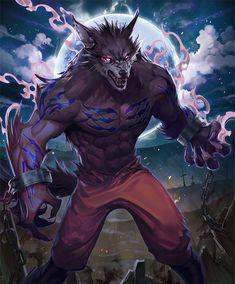 Card: Frenzied Werewolf Dark Fantasy Art, Fantasy Artwork, Monster Concept Art, Monster Art, Furry Wolf, Furry Art, Mythical Creatures Art, Fantasy Creatures, Fantasy Character Design