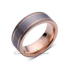 8mm,Unique,Gun Metal,Gray Brushed,Rose Gold Groove,Tungsten RIng,Wedding Band,Comfort Fit