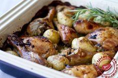 Pollo asado con patatas y romero - Elplacerdelacarne.com