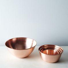 Copper Nesting Prep Bowls (Set of from Saved to Kitschy Kitchen. Kitchen Items, Kitchen Utensils, Kitchen Gadgets, Kitchen Decor, Kitchen Things, Kitchen Tools, Kitchen Supplies, Kitchen Pantry, Kitchen Styling