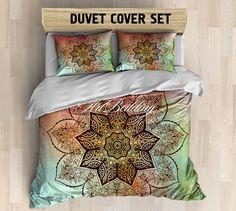 Mandala bedding, Bohemian queen / king / full / twin duvet cover set, Flower sacred balance lotus mandala duvet cover set, Boho chic duvet cover set, mandala bedding set