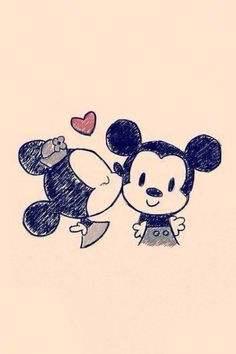 Mickey and Miney so in love.