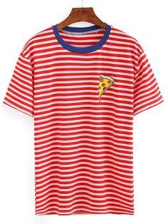 Contrast Neck Pizza Print Striped T-shirt