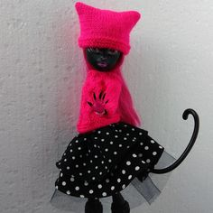 Hand-knitted sweater and hat with black fluffy skirt for 12 inch Monster High girl Doll Toys, Barbie Dolls, Monster High Doll Clothes, Etsy Handmade, Handmade Items, Handmade Gifts, Funny Toys, Original Gifts, Clothes Crafts