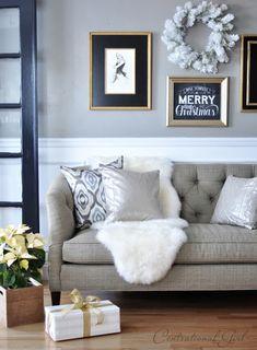 tufted sofa sheepskin rug poinsettia in crate via Centsational Girl