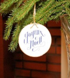 Cross Stitch Christmas Ornament Joyeux Noel French Merry Christmas