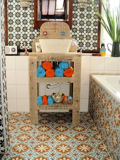Beautifully painted moroccan cement tiles.