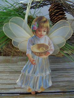Bradford Editions Heavens Little Angels  Heaven Sent  Dona Gelsinger Ornament Porcelain ANGEL with tulle wings Great ornament - Christmas,