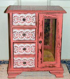 Refurbished upcycled Jewelry Box Peach Pink Leopard Print via Etsy.