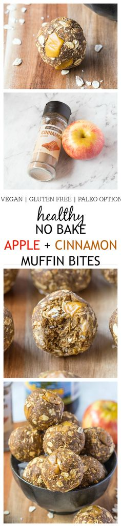 The taste and texture of a delicious, hearty apple cinnamon muffin minus the baking and added fats and sugars! NO flour, butter, sugar or oil! {paleo, vegan, gluten free}