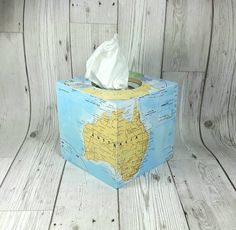 Wooden Tissue Box Cover with a World Map theme.  **Choose your Favourite Locations!**  ----------------------------------------- The Tissue Box Cover is made of solid wood.  If you have certain countries that you would like featured, then please let me know via 'Notes to Seller'.    Map dec