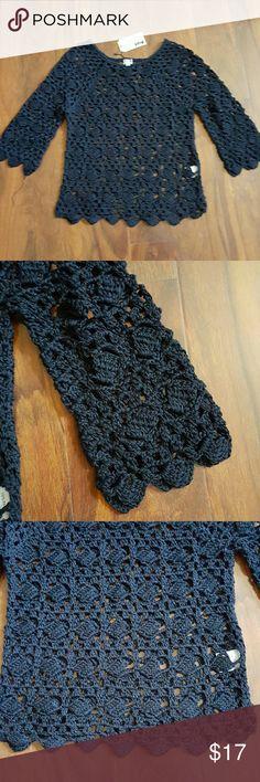 Crochet cotton 3/4 sleeves juniors sweater. 3/4sleeves scallop end crochet sweater scoop neck uniq Sweaters Crew & Scoop Necks