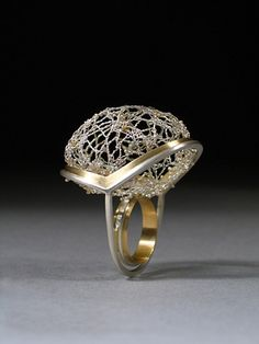 Ring | Alicia Jane Boswell. 'Spider Lace'. Sterling silver, fine silver, 18k gold