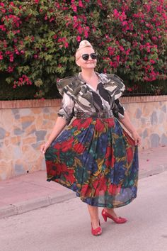 Army Print Blouse and Floral Skirt