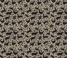 Mexico Springtime: Black on Linen (Small Scale) fabric by sammyk on Spoonflower - custom fabric