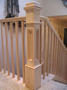 Box Newel pretty, top rail, rails to outside though, and corner post bit simpler, but like the idea 3 0 0 0 0 Stair Railing Design, Iron Stair Railing, Staircase Railings, Wood Stairs, Stairways, Banisters, Stair Posts, Newel Posts, Staircase Remodel
