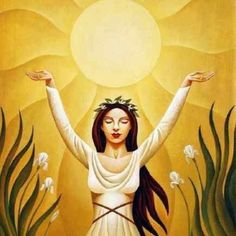 The Magic of the Summer Solstice: Sacred Celebrations for Midsummer Le Jour Le Plus Long, Goddess Art, Sacred Feminine, Sabbats, Beltane, Summer Solstice, Solstice 2017, Gods And Goddesses, Mellow Yellow