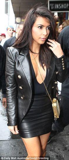 kim kardashian leather skirt