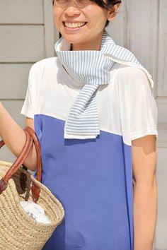 アイススカーフ。内側のポケットに保冷剤を入れて、さり気なくクールに。火を使う調理や庭仕事のときにも活用して。/夏を快適にする布雑貨(「はんど&はあと」2013年8月号)