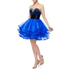 Kivary Women's Short Sweetheart Beaded Crystals Black Top Prom Homecoming Graduation Cocktail Dresses Royal Blue US 22W. Fabric is organza, Back is half lace up + half zipper, Short black top with short skirt, Gothic corset dresses with crystals and beading sequins. This is a custom made dress even if standard size. Please find a soft tape to measure yourself and check size chart, keep tape loose, otherwise will be too tight or large for you. For custom made size, please message and…