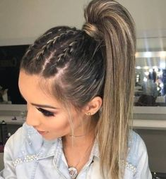 May 2020 - Neueste geflochtene lange Frisuren für Frauen – # für - New Site Hair Inspo, Hair Inspiration, Box Braids Hairstyles, Hairstyle Ideas, Braided Ponytail Hairstyles, Hairstyle For Women, Hairstyles For Girls, Prom Ponytail Hairstyles, Flower Hairstyles