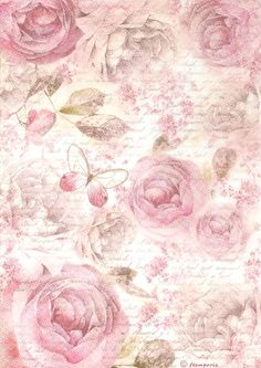 Rice Paper for Decoupage Scrapbooking and other, Pink Roses Butterfly Letter A4 | eBay