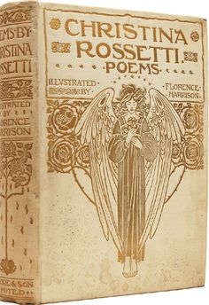 Book design for 'Poems by Christina Rossetti' by Florence Harrison. Published 1910 by Blackie & Son Limited. See more illustrations here. Book Cover Art, Book Cover Design, Book Design, Book Art, Vintage Book Covers, Vintage Books, Old Books, Antique Books, Illustration Art Nouveau